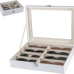 Cokritsm 8 Slot White Eyeglasses Sunglasses Organizer Box PU Leather with Clear Glass Storage Dis...   Amazon (US)