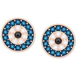 Swarovski Rose Gold-Tone Blue & Clear Pave Evil Eye Stud Earrings | Macys (US)