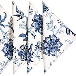 "Cloth Napkins Table Linens Dinner Napkins 18""x18"" White & Blue Cotton Floral Fabric Set of 4 | Amazon (US)"