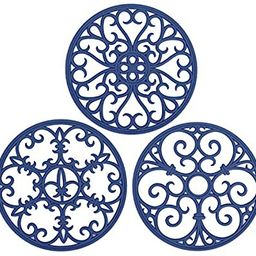 Non Slip Silicone Carved Trivet Mats Set For Dishes- Heat Resistant Coasters-Modern Kitchen Hot P... | Amazon (US)