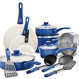 GreenLife Soft Grip Healthy Ceramic Nonstick, Cookware Pots and Pans Set, 16 Piece, Blue | Amazon (US)