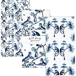 Chinoiserie Designer Kitchen Tea Towels 3 Pack 100% Absorbent Cotton Tiger Monkey Floral Hand Tow... | Amazon (US)
