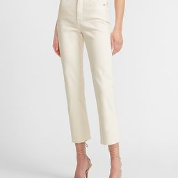 Super High Waisted Off-White Raw Hem Straight Jeans   Express