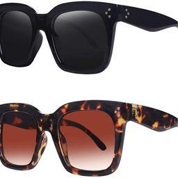 Vintage Women Oversized Sunglasses Designer Luxury Square Sun Glasses UV400 Protection Flat Lens | Amazon (US)