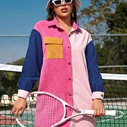 SHEIN Single Breasted Flap Pocket Colorblock Cord Shirt Dress | SHEIN