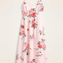 Floral Linen-Blend Fit & Flare Midi Sundress for Women   Old Navy (US)