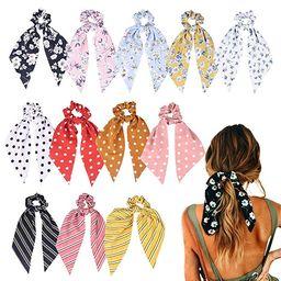 12 Pcs Hair Scarf Hair Scrunchies Chiffon Floral Scrunchie Hair Bands Ponytail Holder Scrunchy Ti... | Amazon (US)