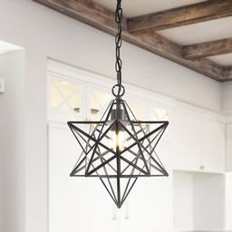 """Stella 12"""" Moravian Star Glass Pendant by JONATHAN Y - 1 Light - Gold Leaf 