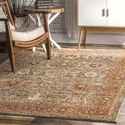 "Olive Faded Persian 6' 7"" x 9' Area Rug   Rugs USA"
