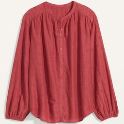 Oversized Embroidered Button-Front Poet Blouse for Women   Old Navy (US)