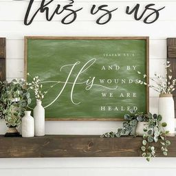 By His Wounds We Are Healed Easter Sign -- Hand Painted Framed Wood Farmhouse Style Chalkboard Si... | Etsy (US)