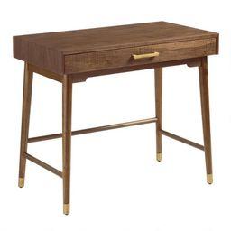 Walnut and Gold Metal Zola Desk | World Market