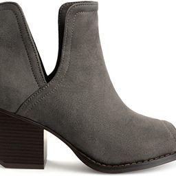Brinley Co. Womens JENA Faux Suede Side-Slit Peep-Toe Ankle Booties | Amazon (US)