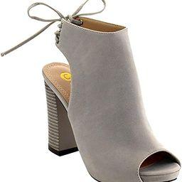 Chase & Chloe EC79 Women's Lace up High Block Heel Ankle Booties | Amazon (US)