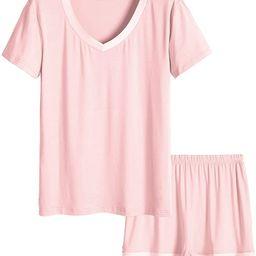 Latuza Women's V-neck Sleepwear Short Sleeve Pajama Set   Amazon (US)