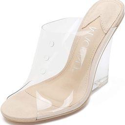 MACKIN J 405-1 Women's Clear Wedge Sandals Open Toe Slip On Mule Lucite Heel Dress Shoes   Amazon (US)
