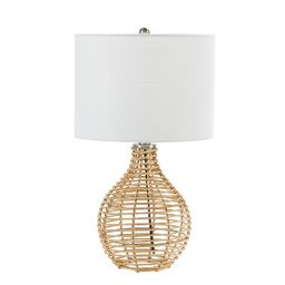 """20"""" Bryce Rattan Silverwood Table Lamp (Includes LED Light Bulb) Light Brown - Decor Therapy 
