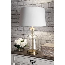 """nuLOOM 24"""" Emma Clear Glass Cotton Shade Gold Table Lamp - 24"""" h x 15"""" w x 15"""" d 