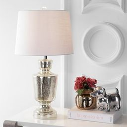 """Olivia 26.5"""" Glass LED Table Lamp, Silver/Ivory by JONATHAN Y 