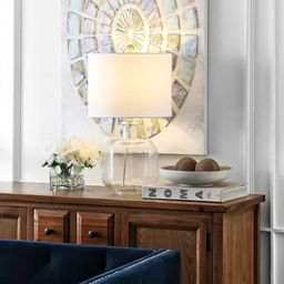 """Safavieh Lighting 21-inch Armena Clear/ Brass Gold LED Table Lamp - 12"""" W x 12"""" L x 21.5"""" H 