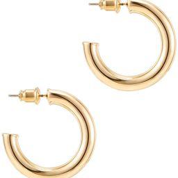 14K Gold Colored Lightweight Chunky Open Hoops | Gold Hoop Earrings for Women | Amazon (US)