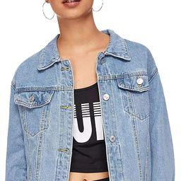 SweatyRocks Women's Casual Long Sleeve Button Down Boyfriend Denim Jacket | Amazon (US)