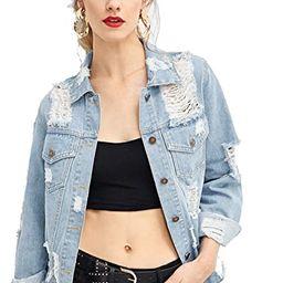 Floerns Women's Causal Long Sleeve Wash Distressed Jean Denim Jacket | Amazon (US)