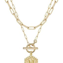 Layered Gold Initial Necklaces for Women, 14K Gold Plated Paperclip Link Chain Necklace Hexagon L... | Amazon (US)