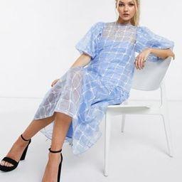 ASOS DESIGN embroidered organza midi smock dress in blue | ASOS (Global)