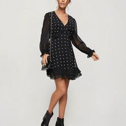 Miss Selfridge chiffon mini dress in black polkadot | ASOS (Global)