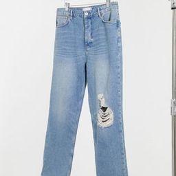 ASOS DESIGN dad jeans in vintage mid 90's wash with knee rip | ASOS (Global)