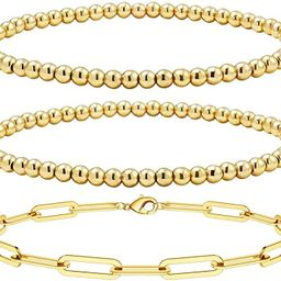 Reoxvo 18K Gold Plated Bracelets for Women | Stainless Steel Gold Beaded Stretch Bracelets Set | Amazon (US)