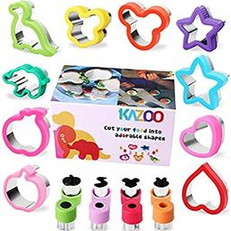 KAZOO 18 Piece Kids Food Shapes Cookie Cutter Kids Sandwich Cookie Cutters Shapes Mini Vegetable ...   Amazon (US)