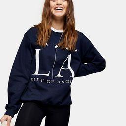 Topshop LA graphic sweatshirt in navy | ASOS (Global)
