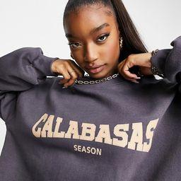 Public Desire oversized coordinating sweatshirt with Calabasas slogan in gray blue | ASOS (Global)