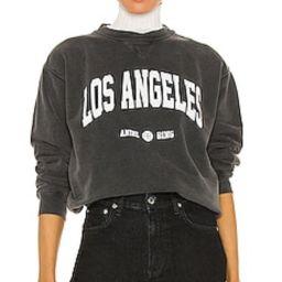 <DEPRECATED> ANINE BING Ramona University Sweatshirt in Washed Black from Revolve.com | Revolve Clothing (Global)