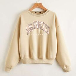 Drop Shoulder Letter Graphic Thermal Lined Sweatshirt | SHEIN