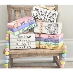 Easter mini wood book stack, tiered tray decor, farmhouse decor | Etsy (US)