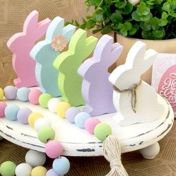 Easter Bunny decor, Wooden Peeps, Spring Bunny Decor, Wood Bunny, Farmhouse Easter Decor, Easter ... | Etsy (US)