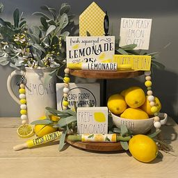 Lemon Tiered Tray Decor; Lemonade Tier Tray Decor; Spring Home Decor; Summer Home Decor; Yellow D... | Etsy (US)