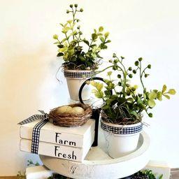 Spring Decor.. Garden greenery.. Painted Clay pots with greenery.  Farmhouse tiered tray decor.. ... | Etsy (US)