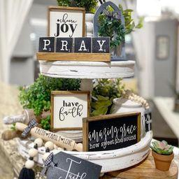 Faith black & white tiered tray set! Christian / religious Mix and match items, farmhouse style s... | Etsy (US)