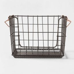 Wire Stackable Basket With Copper Handle Pewter - Threshold™ | Target