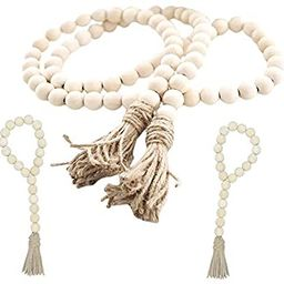 Wood Bead Garland Set,3 pcs Farmhouse Rustic Country Beads with Tassles Wall Hanging Décor | Amazon (US)