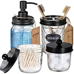 Mason Jar Bathroom Accessories Set(4 Pcs) -Lotion Soap Dispenser &Cotton Swab Holder Set &Toothbr... | Amazon (US)