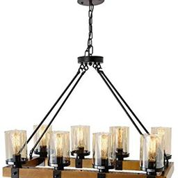 Farmhouse Chandelier for Dining Room, Rustic Pendant Light Fixtures Ceiling Hanging Lighting with... | Amazon (US)