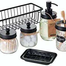 Premium Mason Jar Bathroom Accessories Set (6PCS) - Lotion Soap Dispenser,Toothbrush Holder,2 Apo... | Amazon (US)