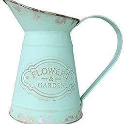 VANCORE Shabby Chic Metal Jug Vase Pitcher Flower Holder for Home Decoration | Amazon (US)