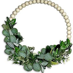ZIKRA HOME Wood Beads and Eucalyptus Wreath - All Seasons Indoor/Outdoor Farmhouse Wreaths for Fr... | Amazon (US)