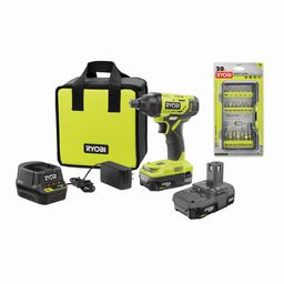 RYOBI ONE+ 18V Cordless 1/4 in. Impact Driver Kit with (2) Batteries, Charger, Bag, w/ FREE Impac... | The Home Depot